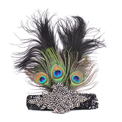 Peacock Feather headband Accessories Great Gatsby~Halloween Party USA seller - Great Gatsby Accessories