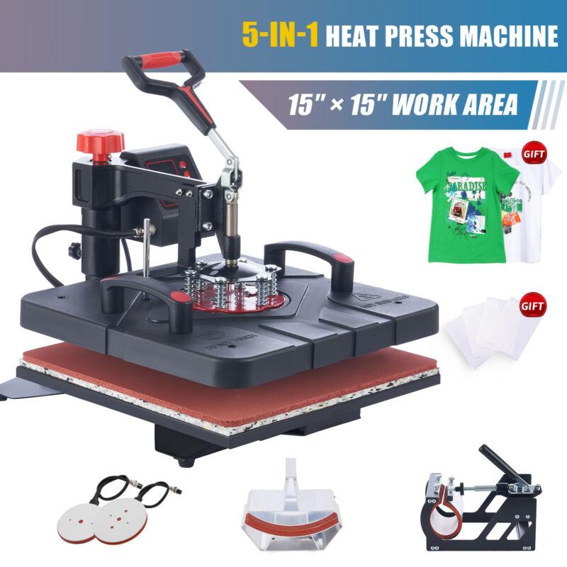 """Heat Transfer Machine 1000W Digital Heat Press w 4 Attachments 15""""x15"""" Heat Pad"""