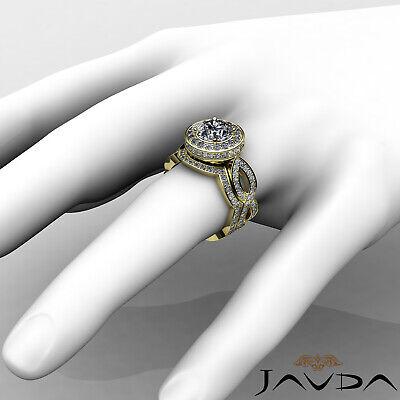 Cross Shank Circa Halo Round Diamond Engagement Pave Set Ring GIA I SI1 2.8 Ct 11