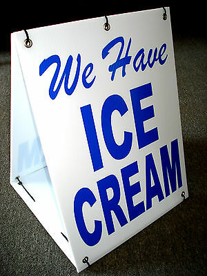 We Have ICE CREAM 2-Sided Sandwich Board Sign Kit NEW Blue on White