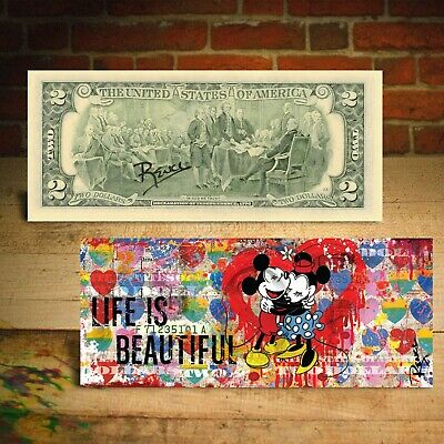 MICKEY & MINNIE MOUSE Life is Beautiful $2 Bill Banksy Art HAND-SIGNED by Rency](Minnie Mouse Hands)