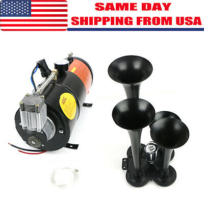 Nice Train Horn Kit 4 Trumpet W/150PSI Air Compressor Complete System (Complete Train Horn)