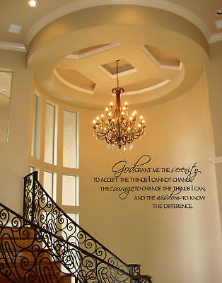 GOD GRANT SERENITY PRAYER QUOTE DECAL 16x8 VINYL WALL DECAL HOME BEDROOM QUOTE