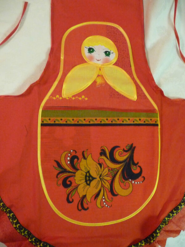 Russian Nesting Doll Apron & potholder in traditional colors red/yellow/ blk NEW