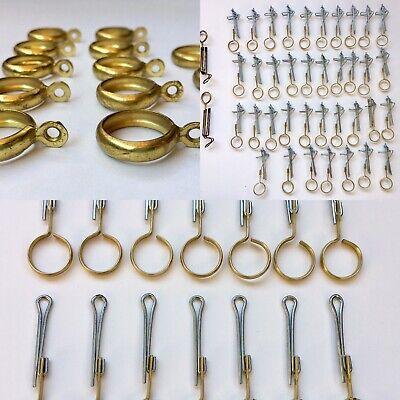 Vintage Curtain Rod Rings Brass Drapery Pinch Pleat Hook Large Lot Mid century