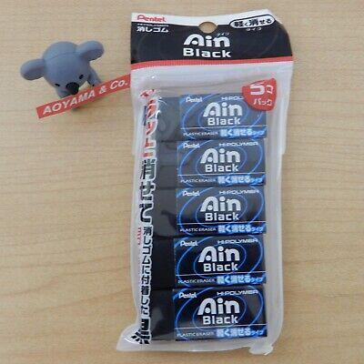 Pentel Japan Zeah06a Ain Plastic Eraser Black 5-pack Xzeah065a
