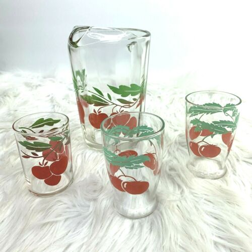 Vintage Tomato Juice Pitcher Ice Lip 3 Cups Glasses Glass 4 Piece Set Federal