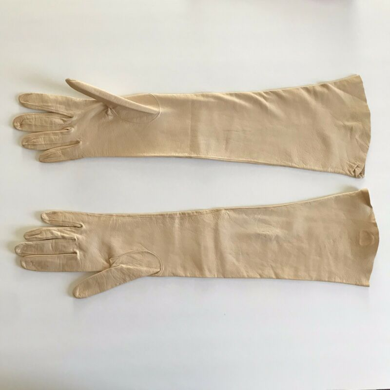 Lionel Le Grand Paris Leather Long Gloves Magnin Size 6.5 Made In France Vintage