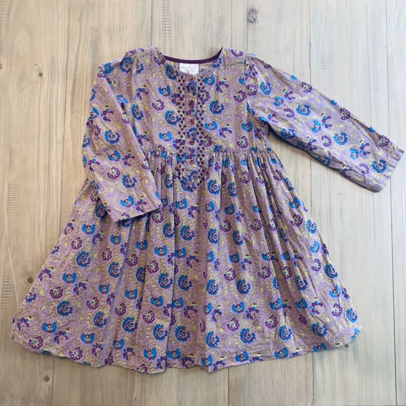Pink Chicken Dusty Purple Floral Patterned Lined Dress Girls Size 4Y