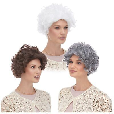 Mrs Claus Wig (Mom Grandma Old Lady Mrs. Claus Gray White Brown Blonde Hair Curly Costume)