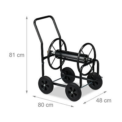 Hosepipe Cart Metal 4 Wheels Hose Pipe Trolley Big Garden Water Hose Reel Black