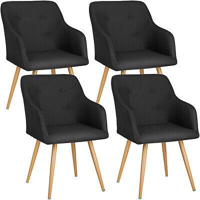 4x Chaise de design siège de bureau salon retro chef manger rembourré set noir