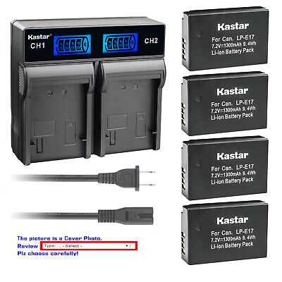 Kastar Battery LCD Rapid Charger for E17 Canon EOS RP Mirrorless Digital (Digital Lcd Camera Battery)