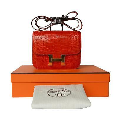 HERMES CONSTANCE ALLIGATOR 18CM BAG PURSE, RED, GOLD, BOX, DUST BAG, 100$ AUTH