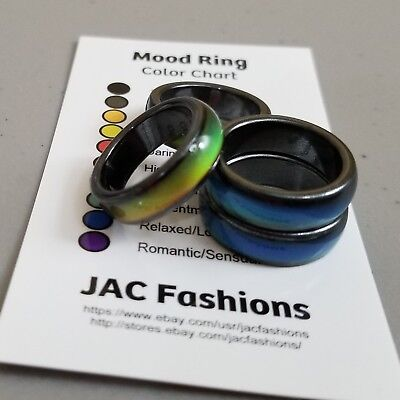 Magnetic Hematite Mood Ring With Color Chart Size 6 7 8 9