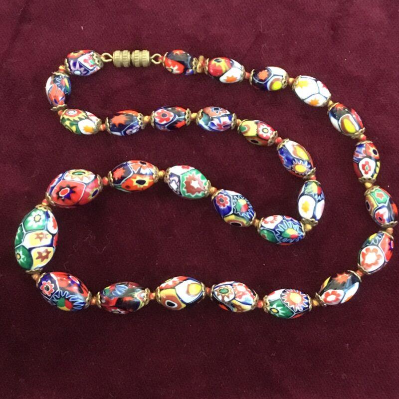 VINTAGE ART DECO MURANO MILLEFIORI GLASS GRADUATED BEAD NECKLACE ~ 47cm LONG