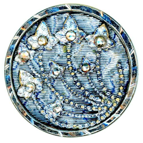 Button--Large 19th C. Shimmery Silver-blue Steel Cup Floral