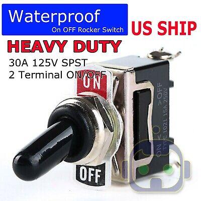 Heavy Black Rocker Toggle Switch 20a 125v Spst 2 Terminal Onoff Car Waterproof