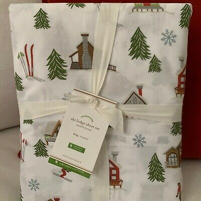 NWT Pottery Barn ~SKI LODGE~ KING Sheet SET ~CHRISTMAS~ Alpine SNOWMAN Buffalo Alpine Sheet Set