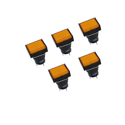 Us Stock 5pcs Square Panel Push Button Switch 1no 1nc Momentary Laz16-11 Yellow