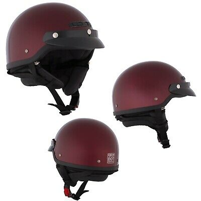 Motorcycle Half Helmet Open Face Glossy Red Wine Large CKX VG-500 Helmet Dot - Face Motorcycle Helmet Wine