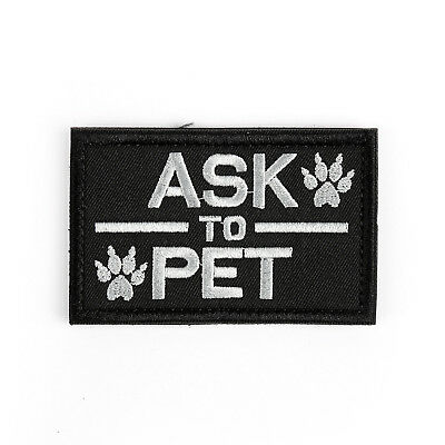 Ask To Pet Service Dog/Working K9 Tactical Morale Swat Desert Hook Patch C UE