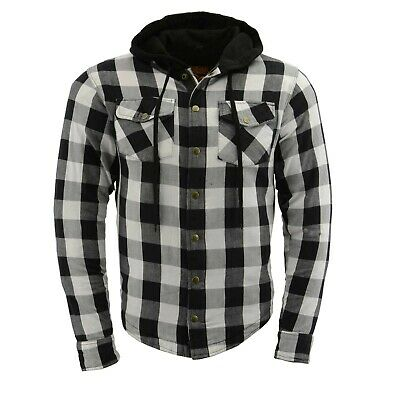 Milwaukee Plaid Black & White Motorcycle Riding Shirt, Hoody, Armor, Protective
