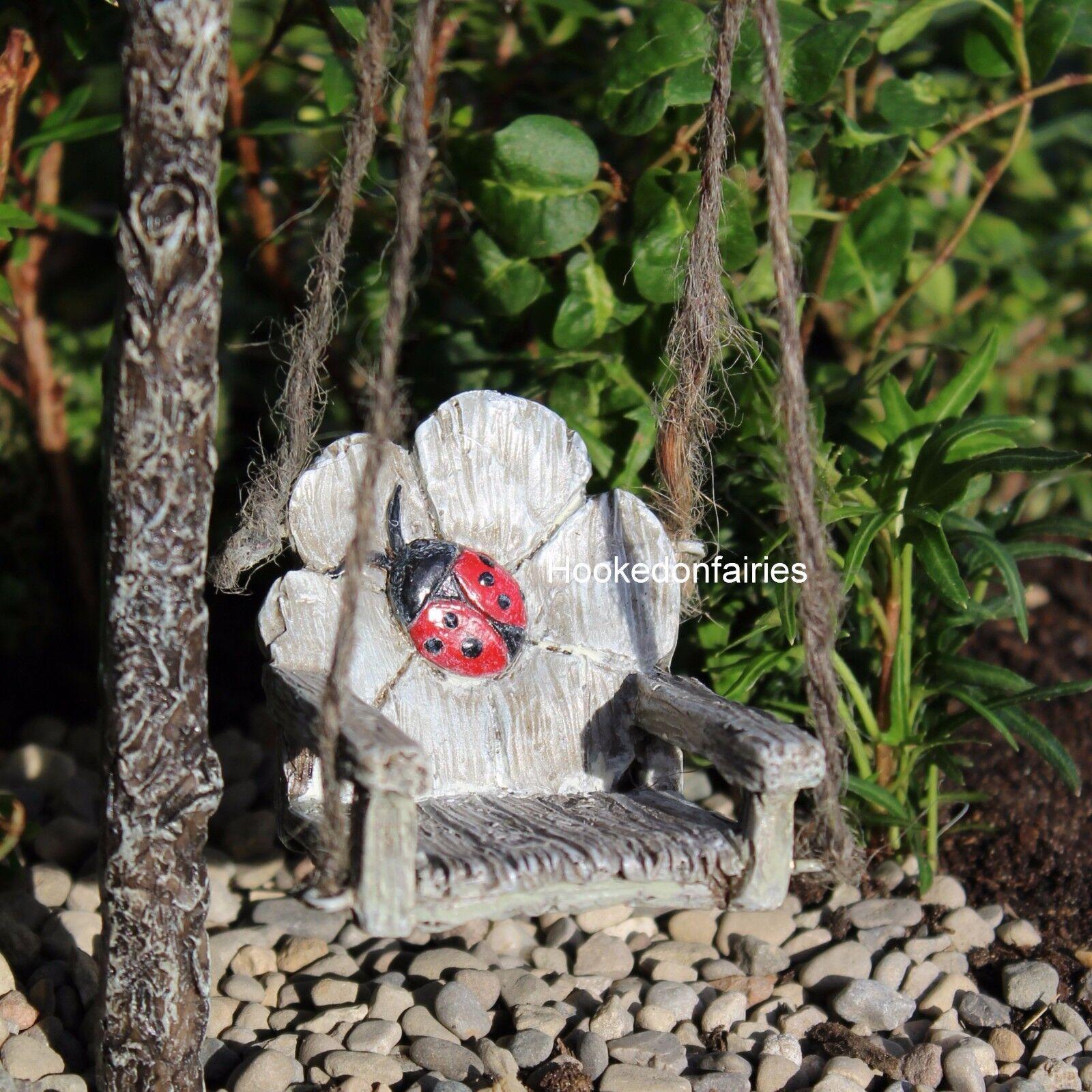 FAIRY GARDEN Miniature ~ Ladybug Swing ~ Mini Dollhouse