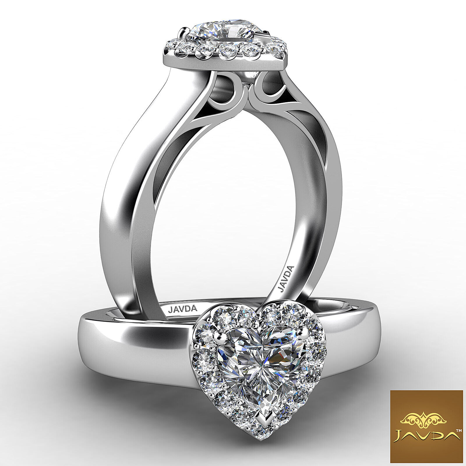 0.74ctw Halo Filigree Side-Stone Heart Diamond Engagement Ring GIA F-VS1 W Gold