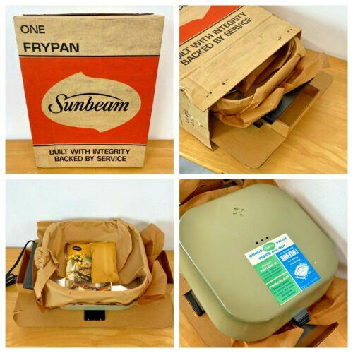 "Vintage 1970 Sunbeam Frypan Avocado Green Electric Skillet New in Box 11.5"" TSH"