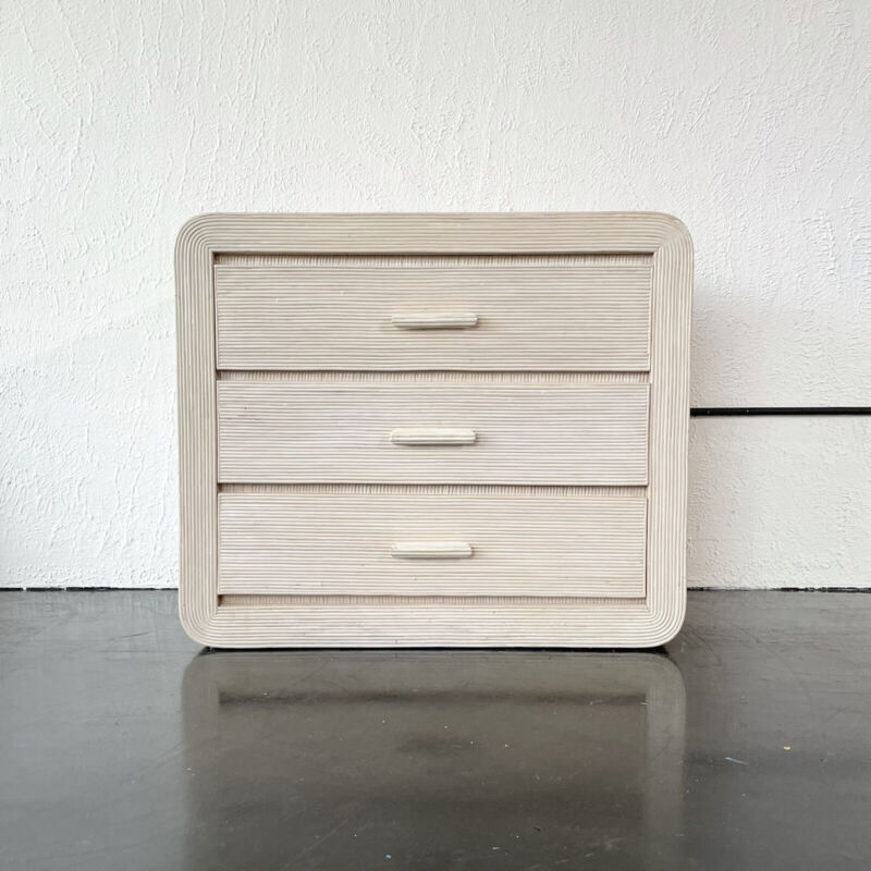 Gabriella Crespi style pencil reed chest of drawers