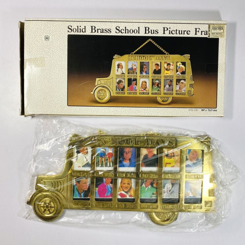 Solid Brass School Days Bus Hanging Picture Photo Frame 1st - 12th Grade Vintage