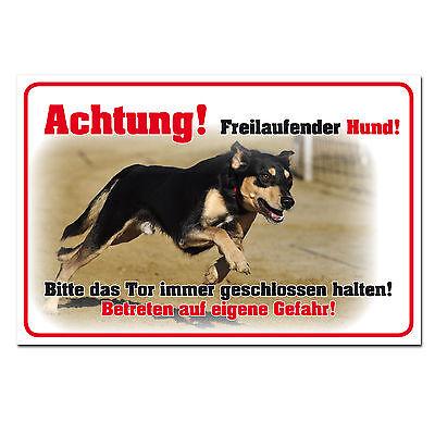 Achtung freilaufender Hund Schild Achtung Warnung Tor geschlossen halten 30x20cm