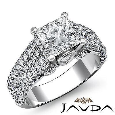 3 Row Shank Pave Setting Princess Diamond Engagement Bezel Ring GIA I SI1 2.7Ct