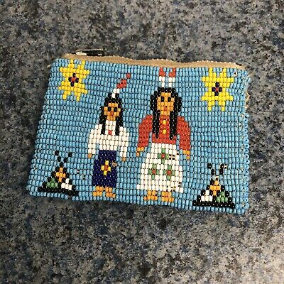 Vintage 1940s 1950s Native American Indian Glass Bead Work Purse