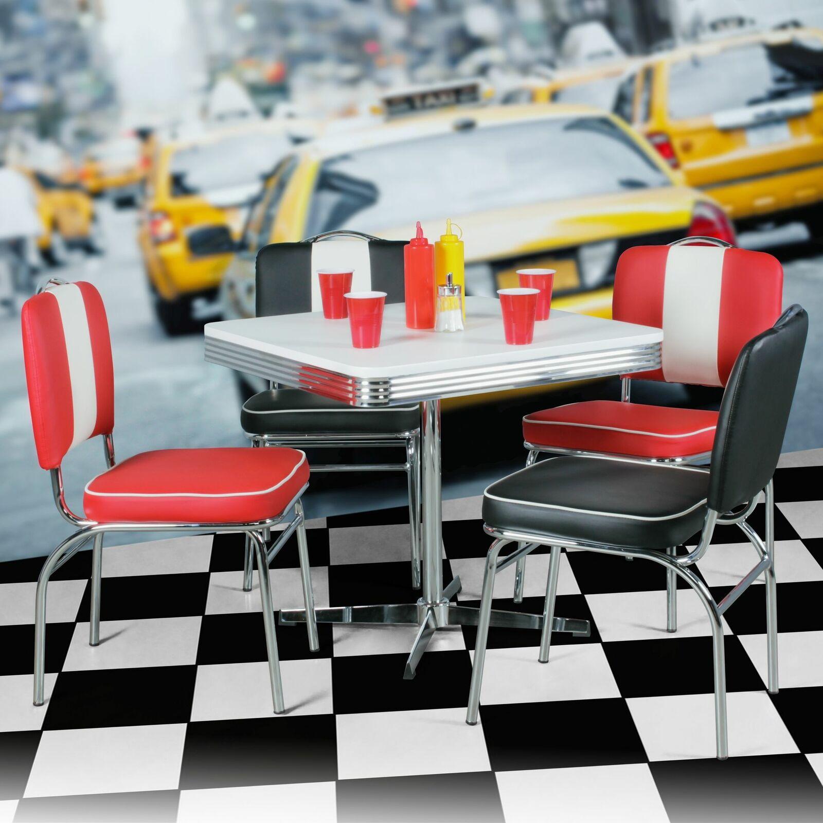 Esstisch 80 x 80 cm American Diner Weiß Design Retro USA Bistrotisch Metall NEU 19