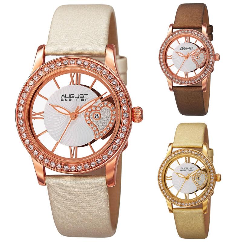Women's August Steiner AS8176 Swarovski Crystal Bezel Date Satin Leather Watch
