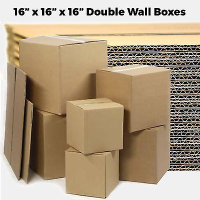 """20 LARGE 16x16x16"""" Double Wall Cardboard - Moving House Removal Mailing Boxes"""