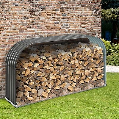Kaminholzständer Holzlager Kaminholzunterstand Brennholzregal 0,85 m³ Stahl Grau