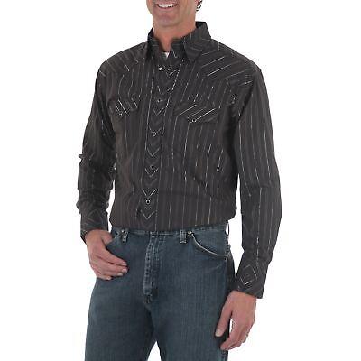 WRANGLER Mens DOBBY STRIPE Shirt - S - Black Metallic