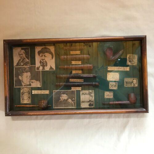 RARE JFK VTG CIGARS/PIPES FRAMED SET, JOHN F KENNEDY,SHERLOCK HOLMES,MACARTHUR