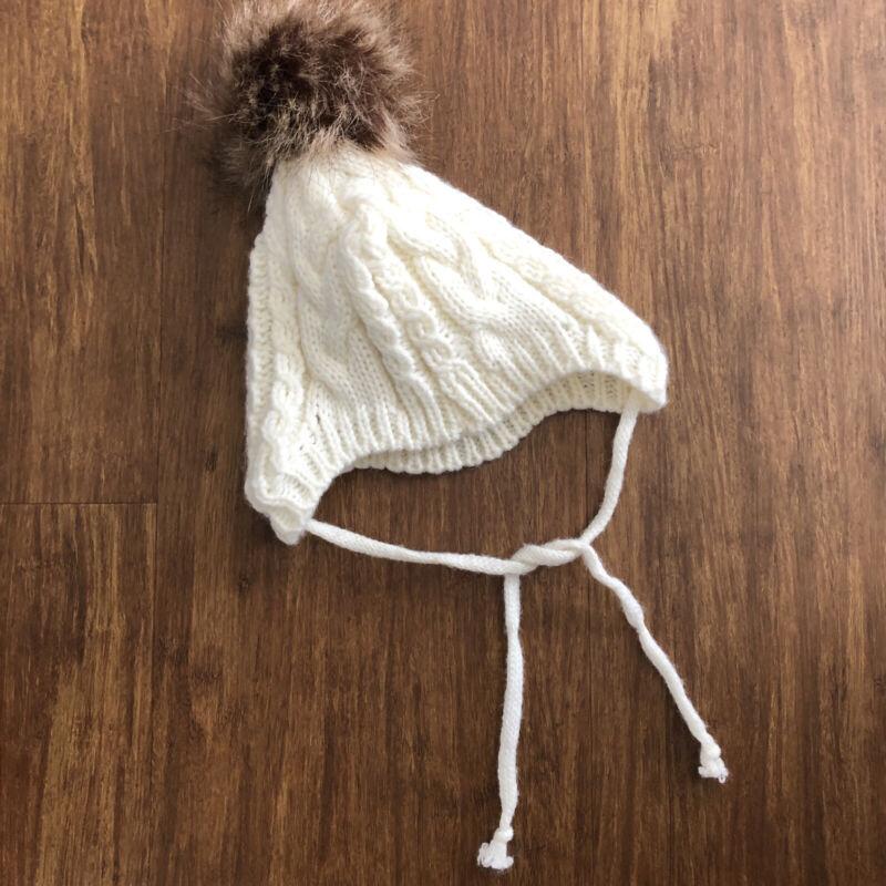 Baby hat white cream winter knit w/ pom pom ear flaps ties photo Newborn Infant
