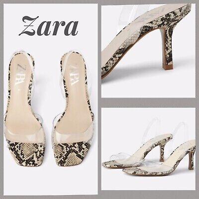 Zara Women's Vinyl Sling Back With Snake Skin Print - 2336/081 6.5 Us