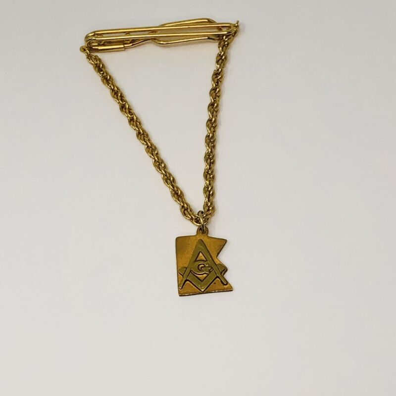Vintage Minnesota Masonic Masons Tie Bar Clasp Clip Chain