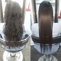 Japanese hair straightening Rebonding keratin treatment Olaplex