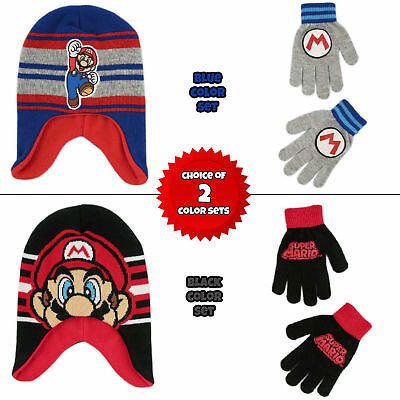 Nintendo Super Mario Hat and Gloves Cold Weather Set, Little Boys, Age 4-7 - Super Mario Gloves