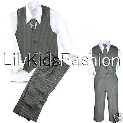Baby Toddler Boy 4 Pc Vest Set Pinstripe Formal Wedding T...