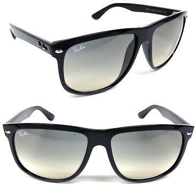 Ray Ban Sun FlatTop Boyfriend RB4147 601/32 Polished Black w/Gray Gradient (Ray Ban Boyfriend Glasses)
