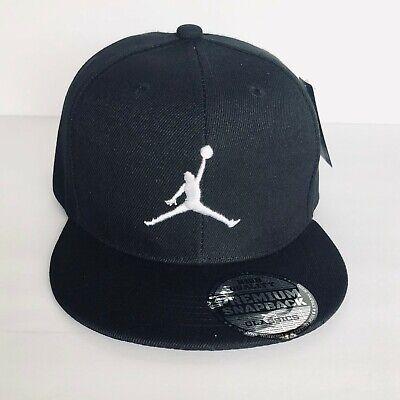 NEW Mens Jordan Baseball Cap Snapback Hat Black - White Logo Adjustable