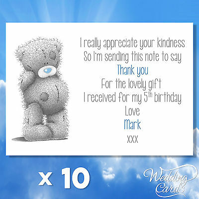 10 Personalised children birthday thank you for my gifts Car